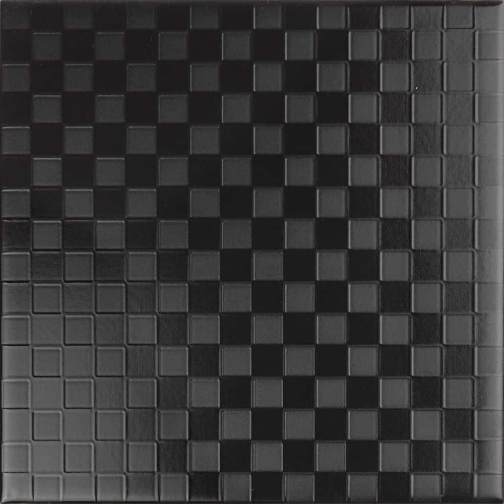 Faianță pentru baie Ceramica Cas Black & White Negro Decor 200x200 satin negru / 25