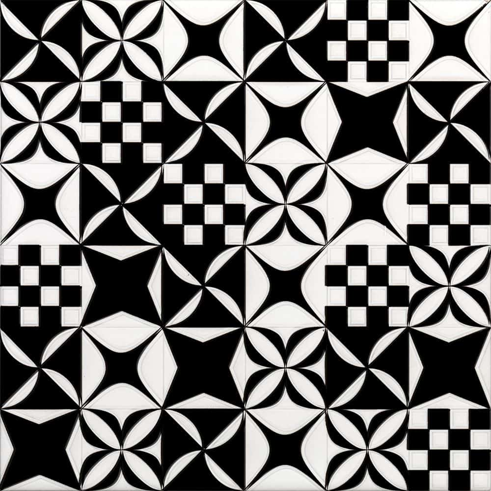 Faianță pentru baie Ceramica Cas Black & White Mosaico Mix Decor 200x200 satin negru / 25