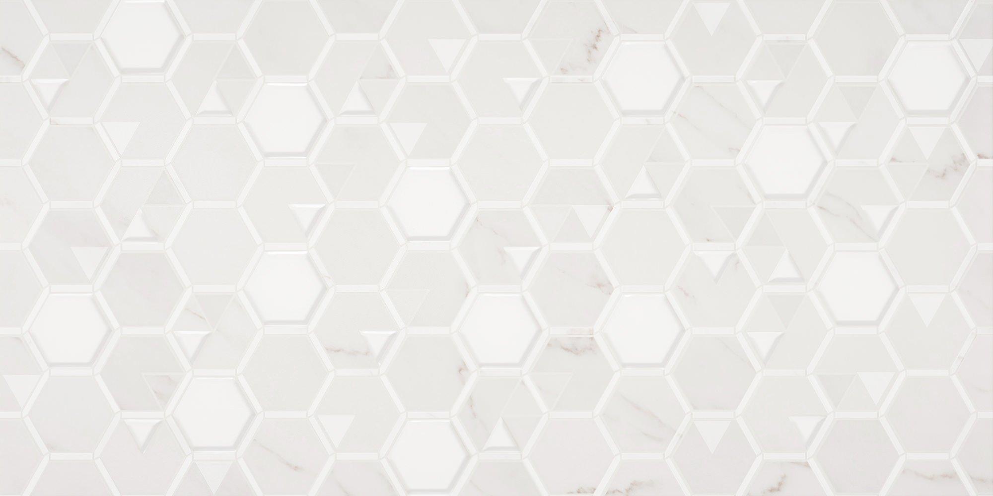 Faianță pentru baie Opoczno Calacatta Decor Patchwork 297x600 texturată și mată alb / 6